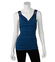 A. Byer Juniors' Shirred Tank With Studs
