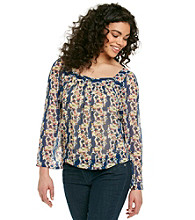 Jessica Simpson Blue Florra Waterfall Peasant Top
