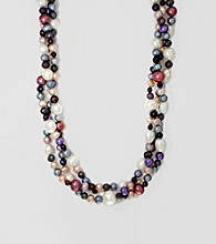 Effy® Sterling Silver and Multi Color Freshwater Pearl Triple Strand Necklace