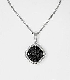 Effy® Black and White Diamond .36 ct. t.w. Pendant in 14K White Gold