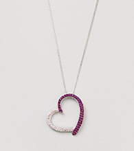 Sterling Silver Purple Crystal Open Heart Pendant Necklace