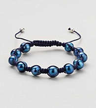 Designs by FMC Royal Blue Freshwater Blue Pearl Macrame Adjustable Bracelet