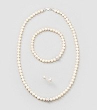 Designs by FMC Sterling Silver and Freshwater Cultured White Pearl Necklace, Bracelet & Stud Set