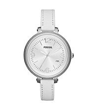 Fossil® Women's Heather White Leather Watch