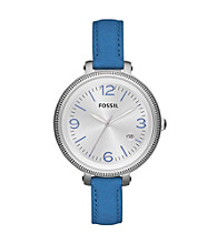Fossil® Women's Heather Blue Leather Watch