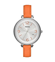 Fossil® Women's Heather in Stainless Steel with Orange Leather Strap