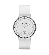 Skagen Denmark Women's White Leather with Faceted Glass Bezel Watch