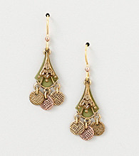 Silver Forest® Mixed Metal Dangles Earrings with Green