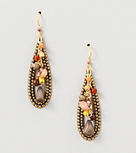 Silver Forest® Goldtone Oval Earrings with Multi Beads