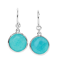 Fossil® Turquoise/Silvertone Round Bezel Set Circle Drop Earrings