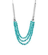 Fossil® Bold Turquoise and Silvertone Three Row Collar Necklace