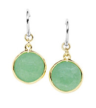 Fossil® Green Dyed Jade Circle Drop Earrings with Goldtone Bezel