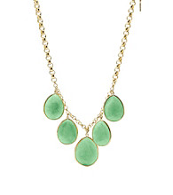 Fossil® Green Collar Necklace with Five Green Dyed Jade Tear Drops on Goldtone Chain