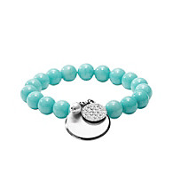 Fossil® Turquoise Stretch Bracelet with Steel Charm Drop and Clear Crystal Details