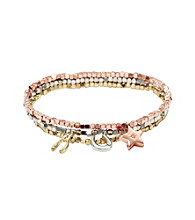 Fossil® Three Row Metal Beaded Bracelet in Mixed Platings with Luck Charms