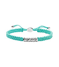 Fossil® Teal Macrame Bracelet with Silvertone Rondells and Clear Crystals