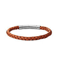 Fossil® Men's Orange and Silvertone Braided Bracelet with Vintage Finish