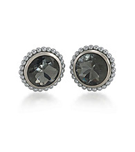 Carolee® Color Blocked Grey Button Clip On Earrings