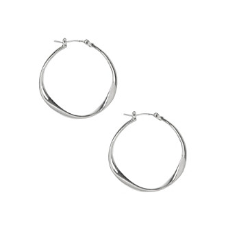 Nine West Vintage America Collection® Worn Silvertone Twist Hoop Earrings plus size,  plus size fashion plus size appare