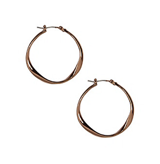 Nine West Vintage America Collection® Brown Goldtone Twist Hoop Earrings plus size,  plus size fashion plus size appare