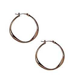 Nine West Vintage America Collection® Brown Goldtone Twist Hoop Earrings