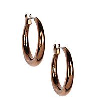 Nine West Vintage America Collection® Small Brown Goldtone Hoop Earrings