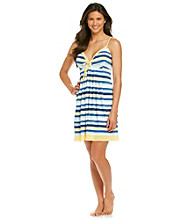Relativity® Knit Contrast Trim Chemise - Lemon/Navy Stripe
