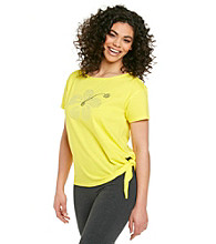 Sleep Riot™ Yellow Bloom Knit Side Tie Embellished Top