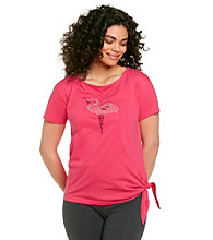 Sleep Riot™ Pink Flamingo Knit Side Tie Embellished Top