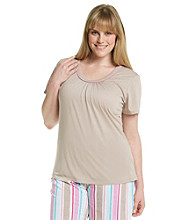 Jockey® Plus Size Taupe Knit Scoopneck Top