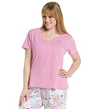 Jockey® Plus Size Pink Knit V-Neck Top