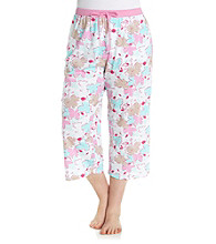 Jockey® Plus Size Sixties Floral Knit Capris