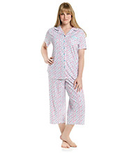 KN Karen Neuburger Pink and Blue Ditsy Knit Girlfriend Pajama Set