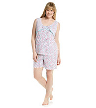 KN Karen Neuburger Plus Size Pink Ditsy Knit Short Pajama Set