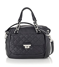 Calvin Klein® Black Geneva Leather Quilt Satchel