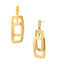 Kenneth Cole® Shiny Goldtone Rectangle Link Drop Earrings