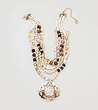 Erica Lyons® Brown Multi/Goldtone Sahara Necklace