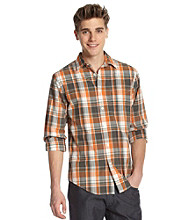 John Bartlett Consensus Men's Orange Papaya Large Plaid Button Down Shirt