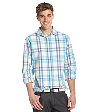 John Bartlett Consensus Men's Turq Ombre Plaid Button Down Shirt