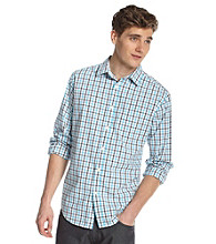 John Bartlett Consensus Men's Turq Tattersal Plaid Button Down Shirt
