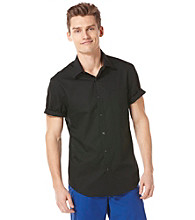 Perry Ellis® Men's Black Short Sleeve Dobby Woven