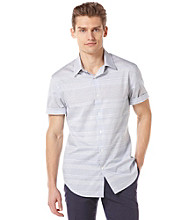 Perry Ellis® Men's Coastal Blue Short Sleeve Horizontal Engineer Stripe Woven