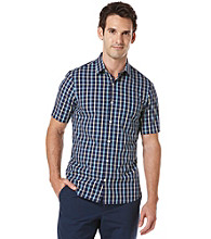 Perry Ellis® Men's Amalfi Short Sleeve Slim Bright Plaid Woven
