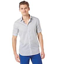 Perry Ellis® Men's Bright White Short Sleeve Slim Patchwork Print Woven