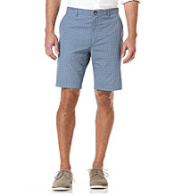 Perry Ellis® Men's Amalfi Blue Check Flat Front Short