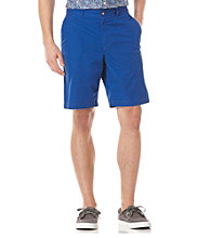 Perry Ellis® Men's Coastal Blue Solid Cotton Flat Front Short