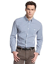 Calvin Klein Men's Monaco Blue Long Sleeve Gingham Woven