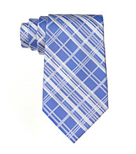 Calvin Klein Men's Chalk Plaid Silk Tie