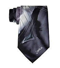 Jerry Garcia Men's Black Abstract Brush Strokes Silk Tie