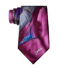 Jerry Garcia Men's Plum Abstract Brush Strokes Silk Tie